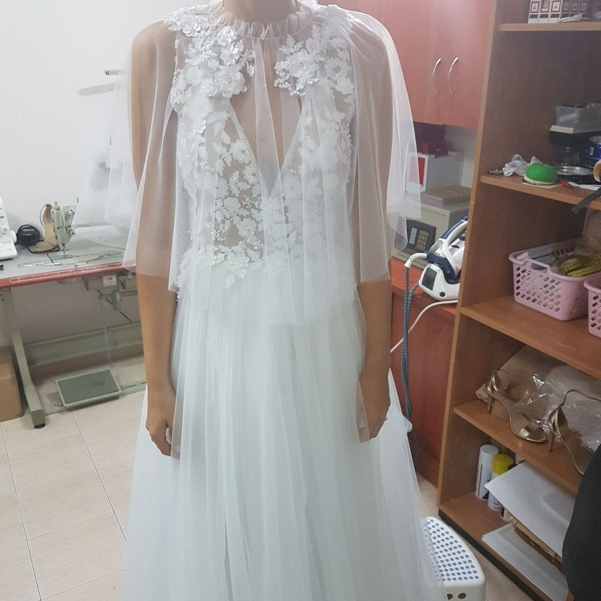 Lace wedding dress tulle november 2018 Bridal Cover Up Bridal Capewhite Bridal CapeletCapeLace Capelet