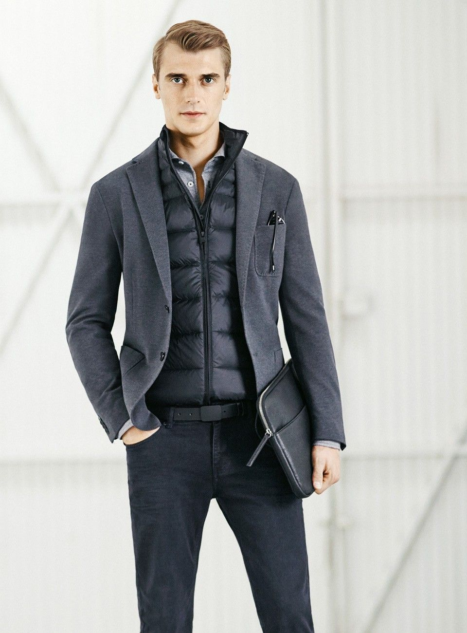 Puffer vest under a suit jacket. Grey/dark neutral outfit, casual ...