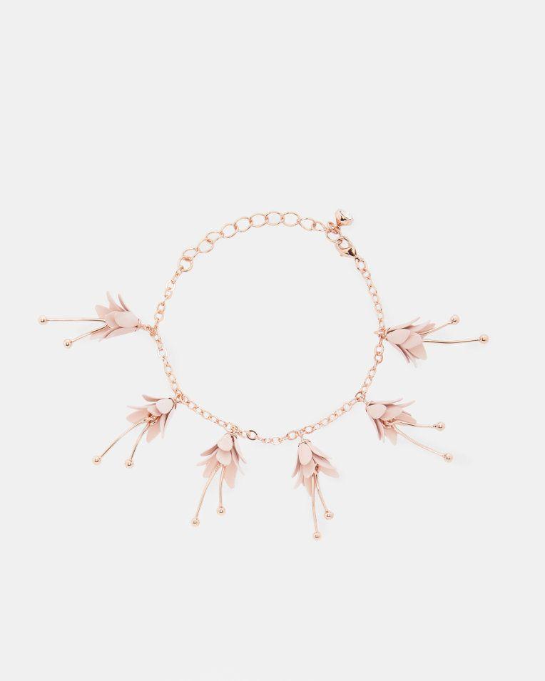 Mini Fuchsia Flower Bracelet Pink Jewelry Ted Baker Fashion Wedding Jewelry Fuchsia Bracelet Pink Bracelet