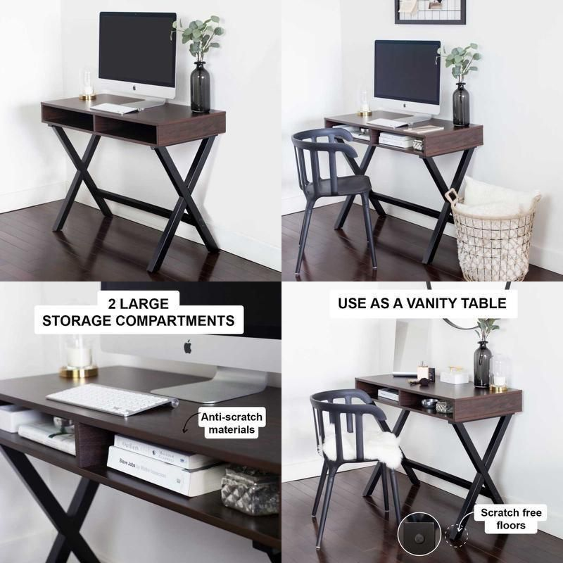 Wood Computer Desk For Small Space Storage Secretary Makeup Vanity