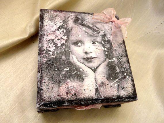 Rustic Wood Box Girl Keepsake Box Flower Girl by TwoCatsAndAnOwl, $25.00