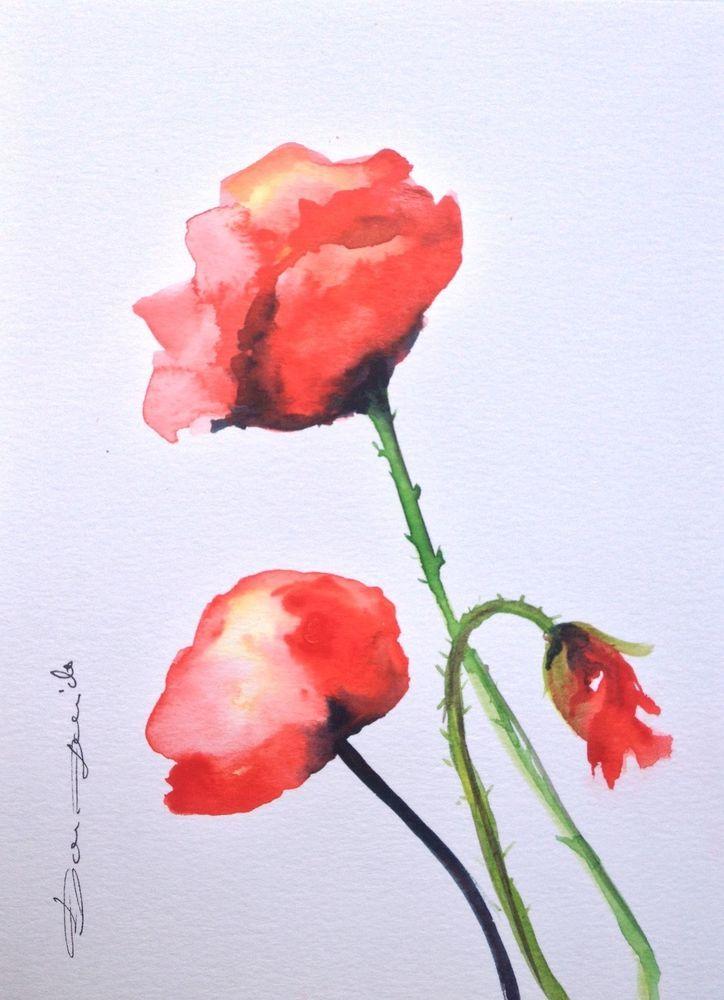 Aquarelle Originale Dam Domido Coquelicot Poppy Artprice Akoun