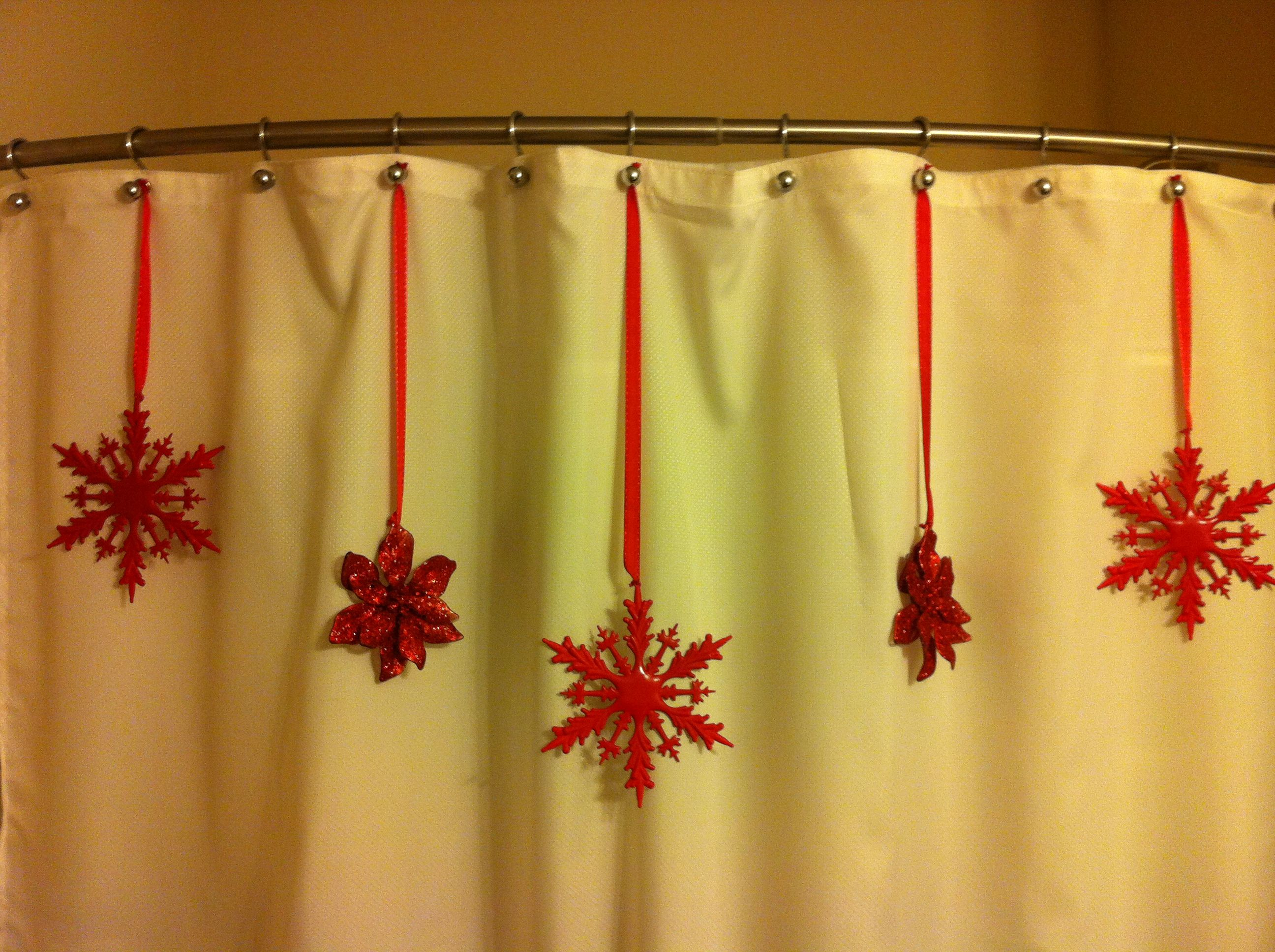 Dollar store ornaments on a shower curtain! Great way to decorate ...