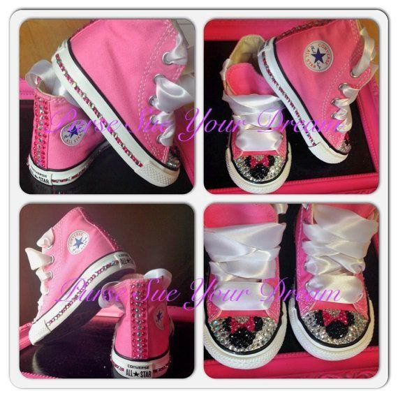 Disney Minnie Mouse Custom Converse Shoes - Swarovski Crystals - Minnie  Mouse Birthday - Disney Worl 9c97856e477
