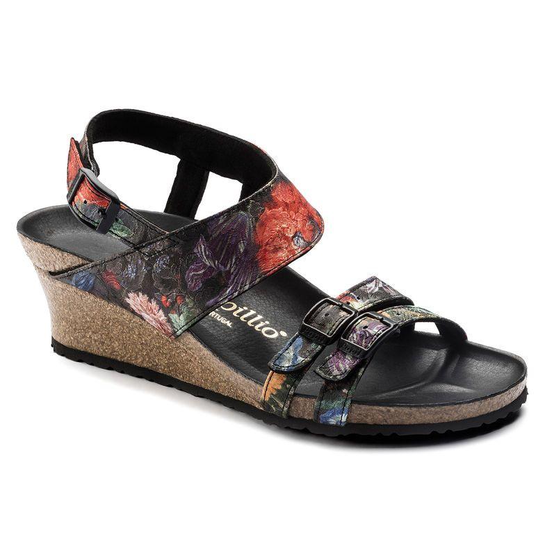 Ellen Textile Floral Bouquet Strap Heels Comfy Shoes Floral Bouquets