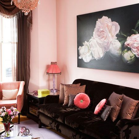 Pale pink walls and a brown sofa in a living room from House to Home ...