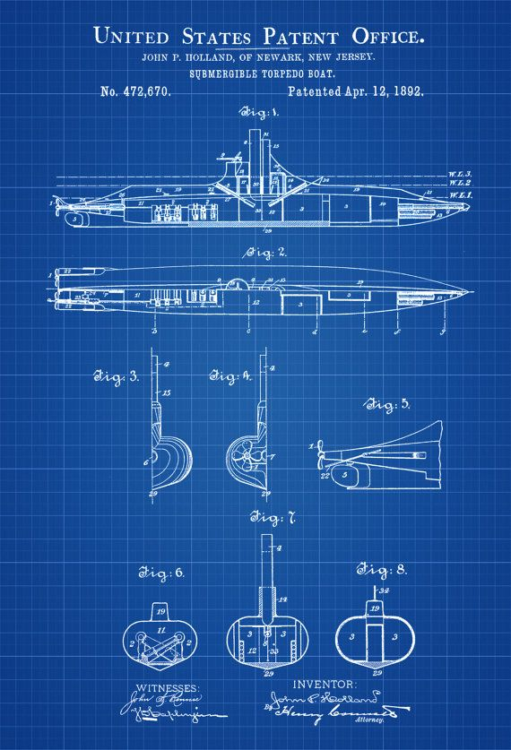 Submarine Patent Print - Vintage Submarine, Submarine Blueprint - new blueprint book for welders