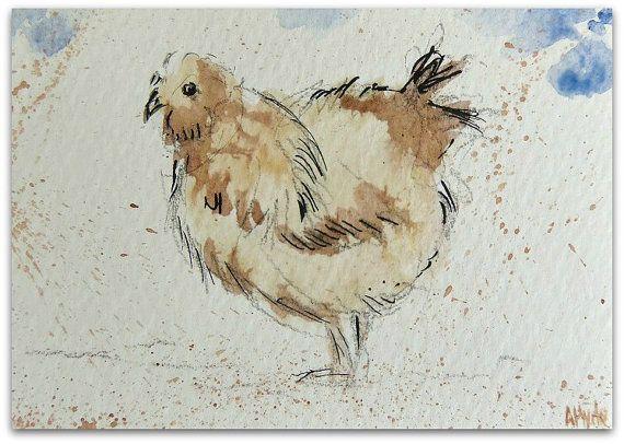 Chicken painting Original Miniature Watercolour by StudioHydeArt #original #artwork #watercolour #painting #art #etsy #devonetsy #farmyard #chicken #hen