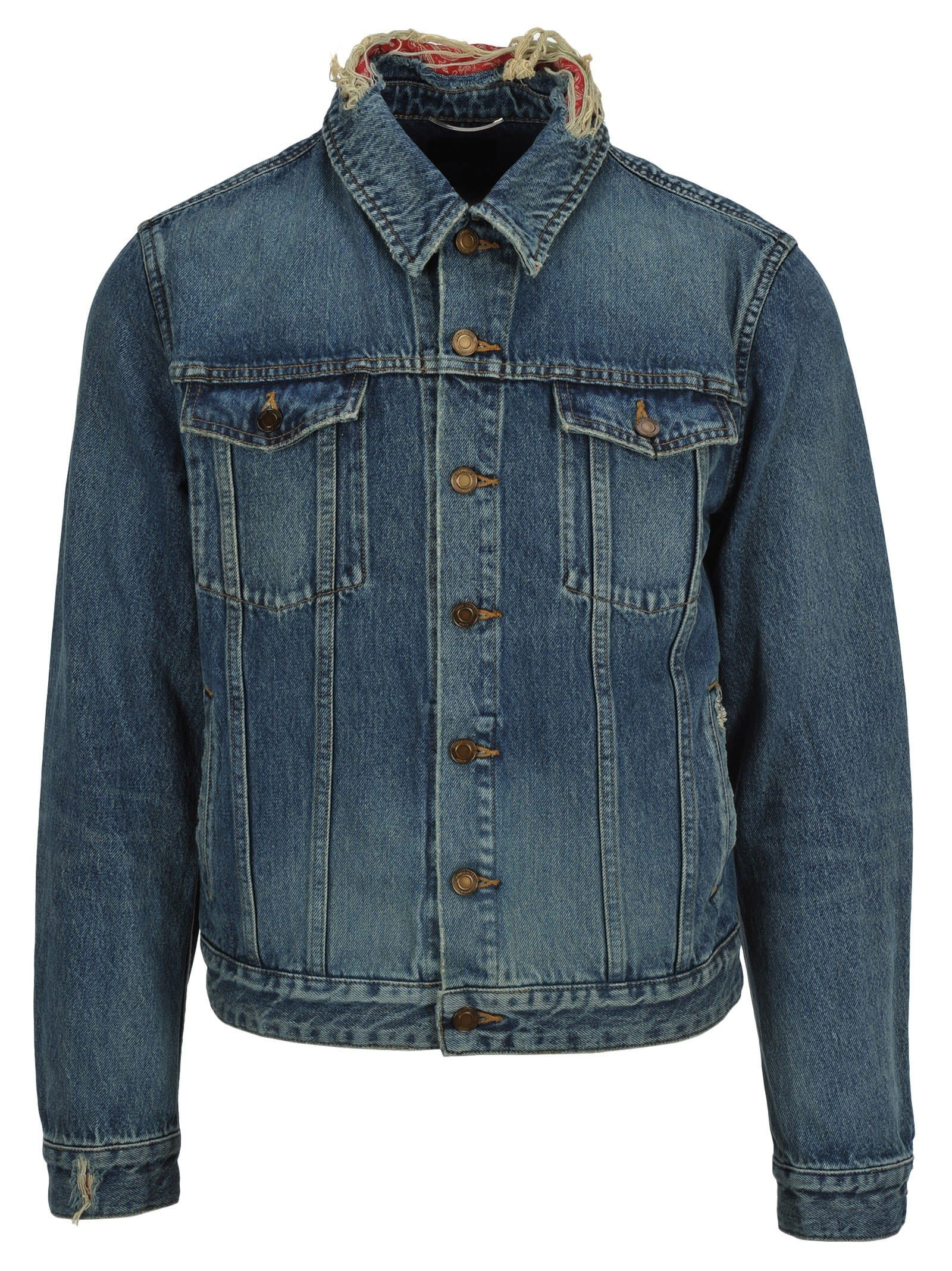 Saint Laurent Denim Jacket Bandana Saintlaurent Cloth Denim Details Denim Jacket Distressed Denim Jacket [ 2136 x 1600 Pixel ]