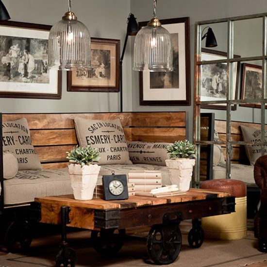 Diy rustic industrial seating chic room design via pure home also image result for interior hearth decoracao rh br pinterest