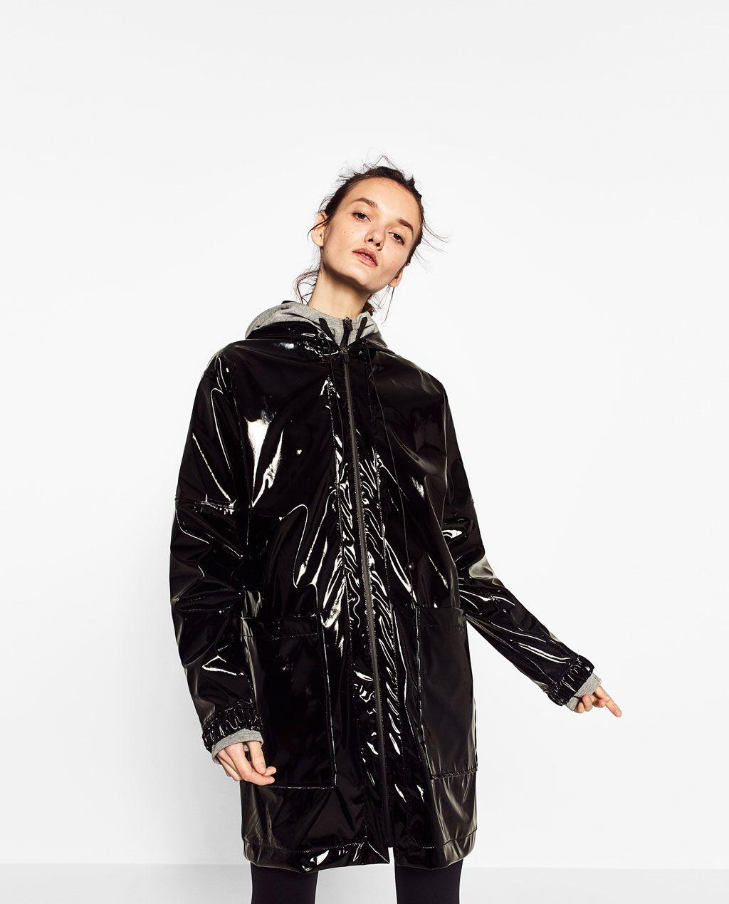 States Raincoat View Effect Woman All Patent Gymwear Zara Black United P4qnwzExq