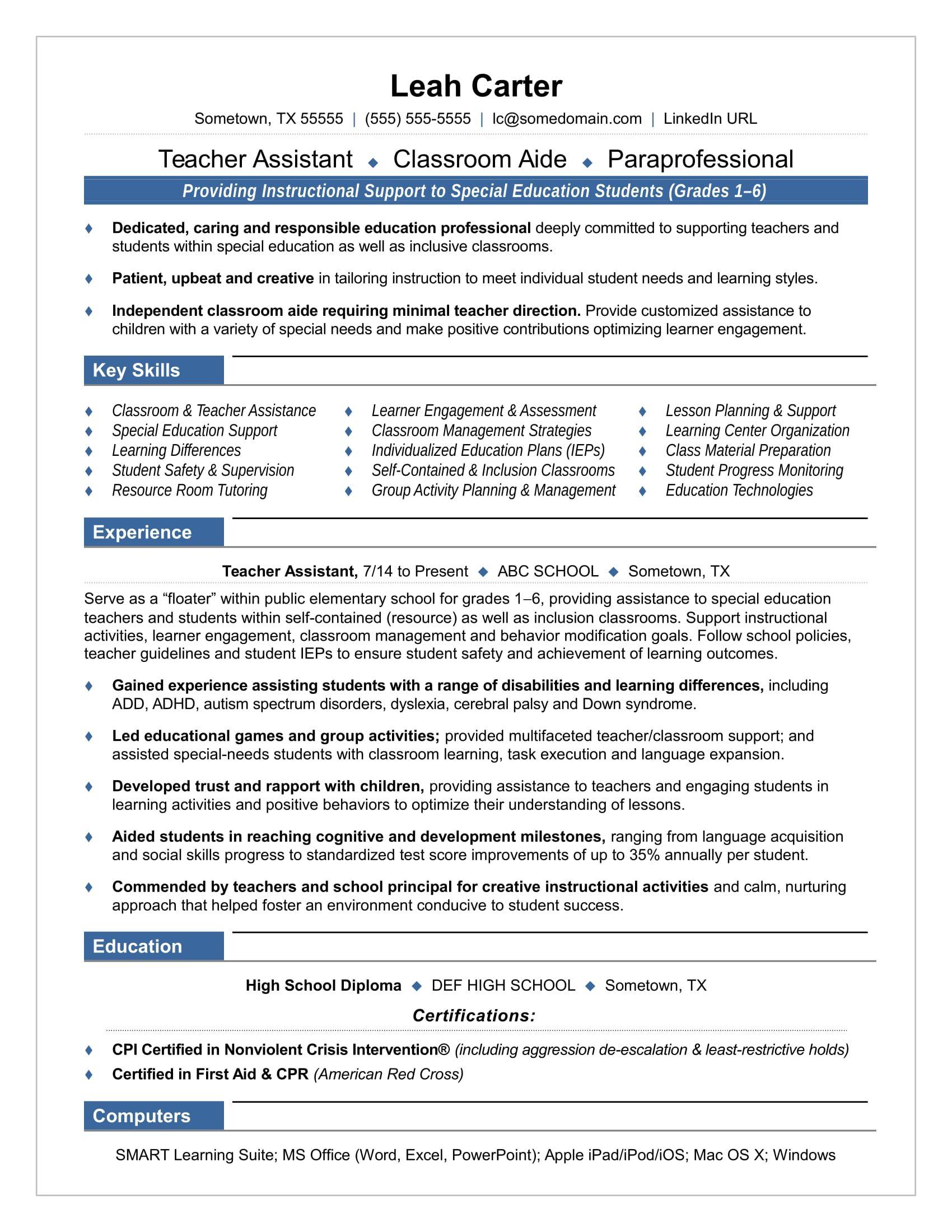 Teacher Assistant Resume Sample Teacher Resume Examples Teaching Resume Preschool Teacher Resume