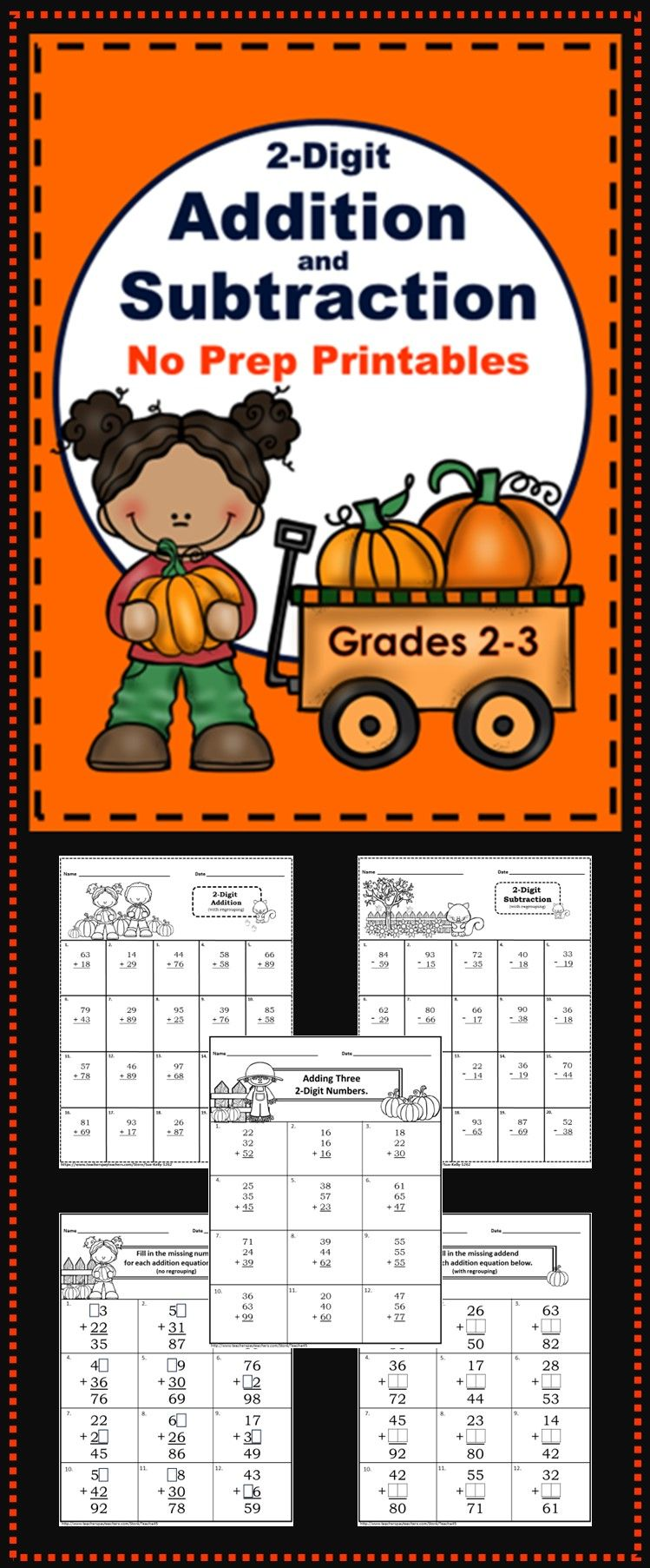 Fall Themed 2 Digit Addition And Subtraction No Prep Printables Grades 2 3 Addition And Subtraction Subtraction Math Resources [ 1805 x 749 Pixel ]