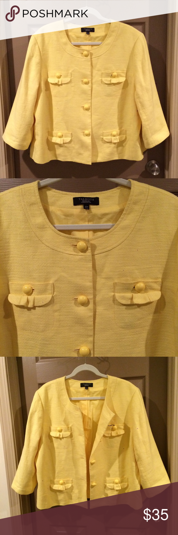 """Nwt Talbots Plus Sz Petite Yellow Suit Jacket 20W Talbots Petites Plus Size Jacket. New! Retail $189 Size 20W Bust is approx 26"""" armpit to armpit Length is approx 24"""" Jacket features 4 functional pockets 3/4 sleeves Extra button 52% cotton and 45% Linen Talbots Petites Jackets & Coats Blazers"""