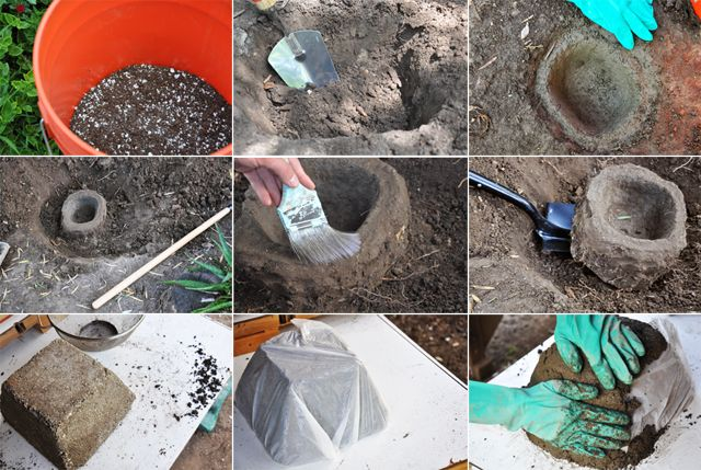 making hypertufa planters - no need for a mold! just dig a hole to create an organic shaped mold.