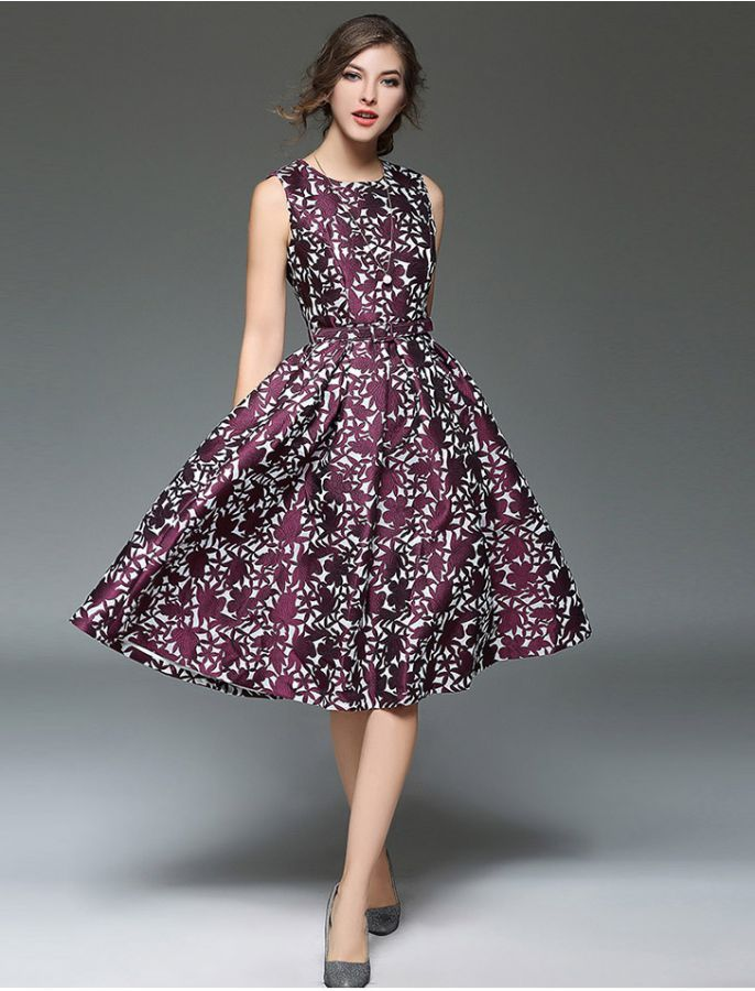 1950s Vintage Style Purple Power Floral Print Stylish Retro Dress ...