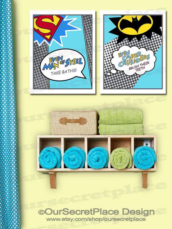 Superhero Comic Children\'s Bathroom Wall Art by OurSecretPlace ...