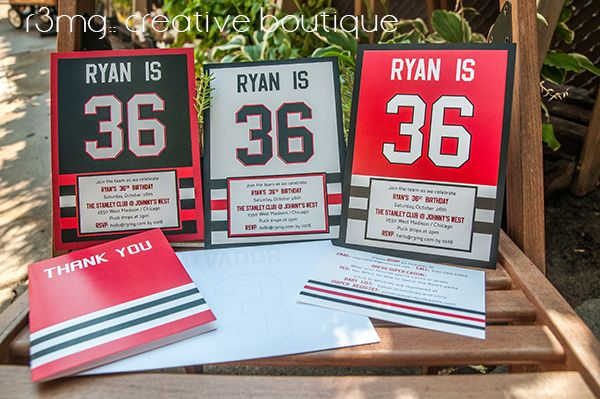 Chicago Blackhawks Jersey Inspired Birthday Invitations For Kids Adults