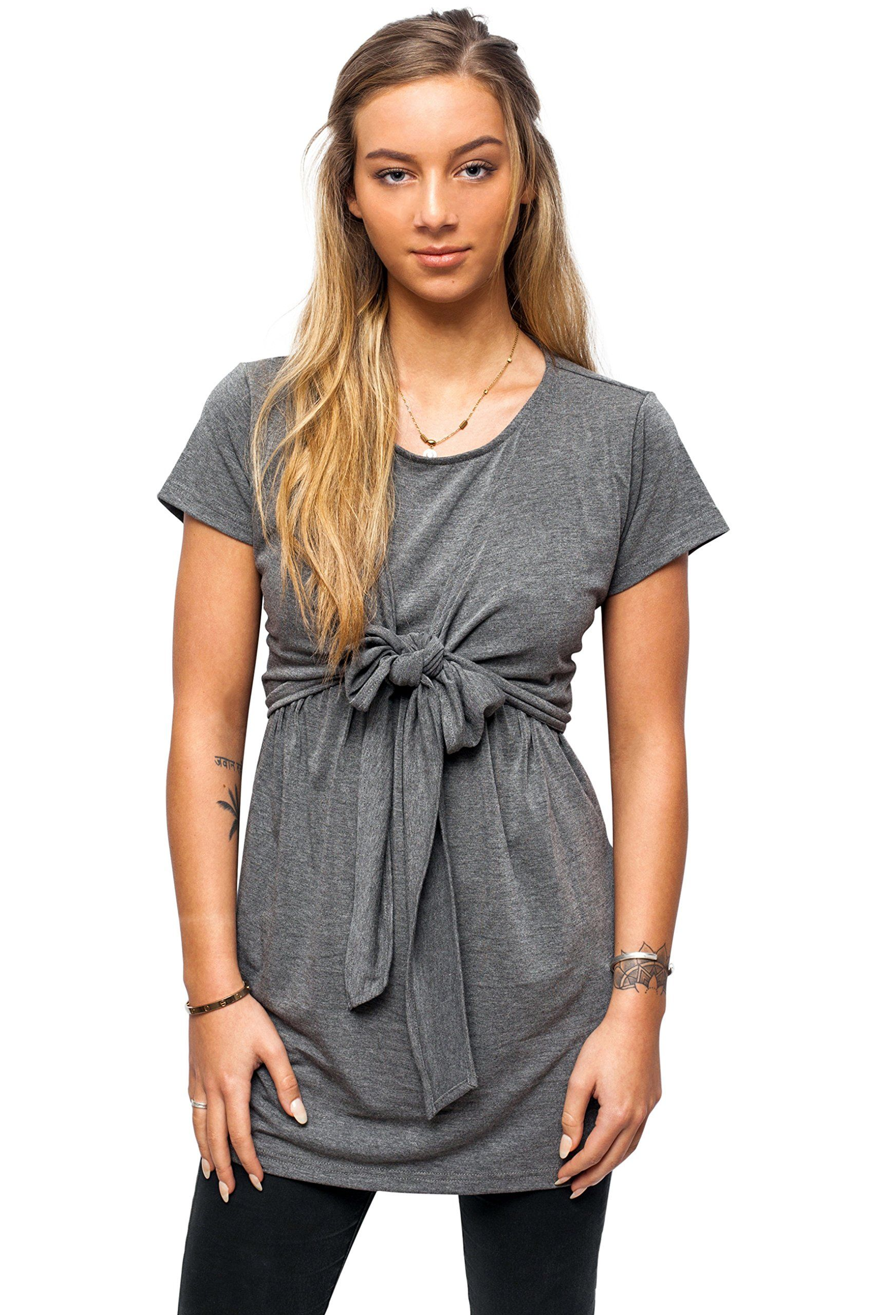 6aacf65557163 nursing tops - sofsy SoftTouch Rayon Blend Tie Front Nursing and Maternity  Fashion Top Charcoal Medium >>> Read more at the photo link.