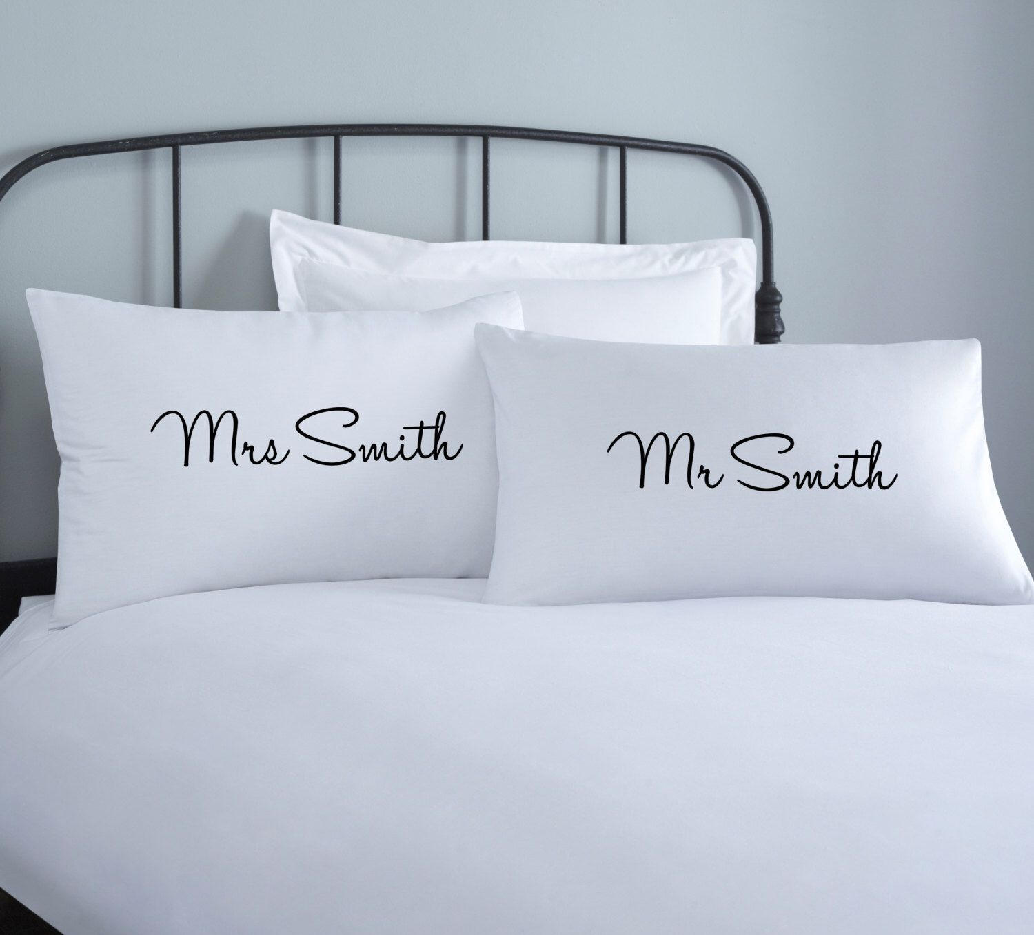 Couples Personalised Pillowcase Set 2 Pillow Covers Home Wedding