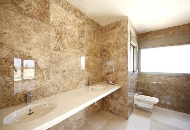 Badezimmer Marmor Fliesen Wand Glasiert Beige Doppelwaschtisch
