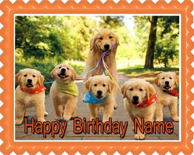 Golden Retriever Dog Puppy Edible Birthday Cake Topper Or Cupcake