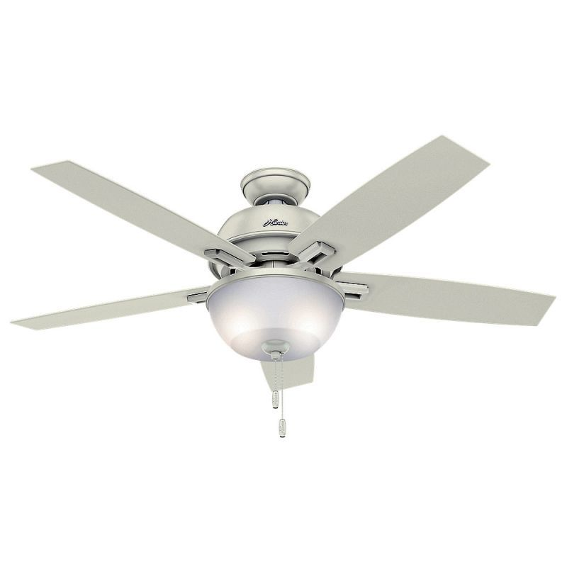 "Hunter Donegan 52 Bowl 52"" Indoor Ceiling Fan - 5 Reversible Blades and LED Ligh Fresh White Fans Ceiling Fans Indoor Ceiling Fans"