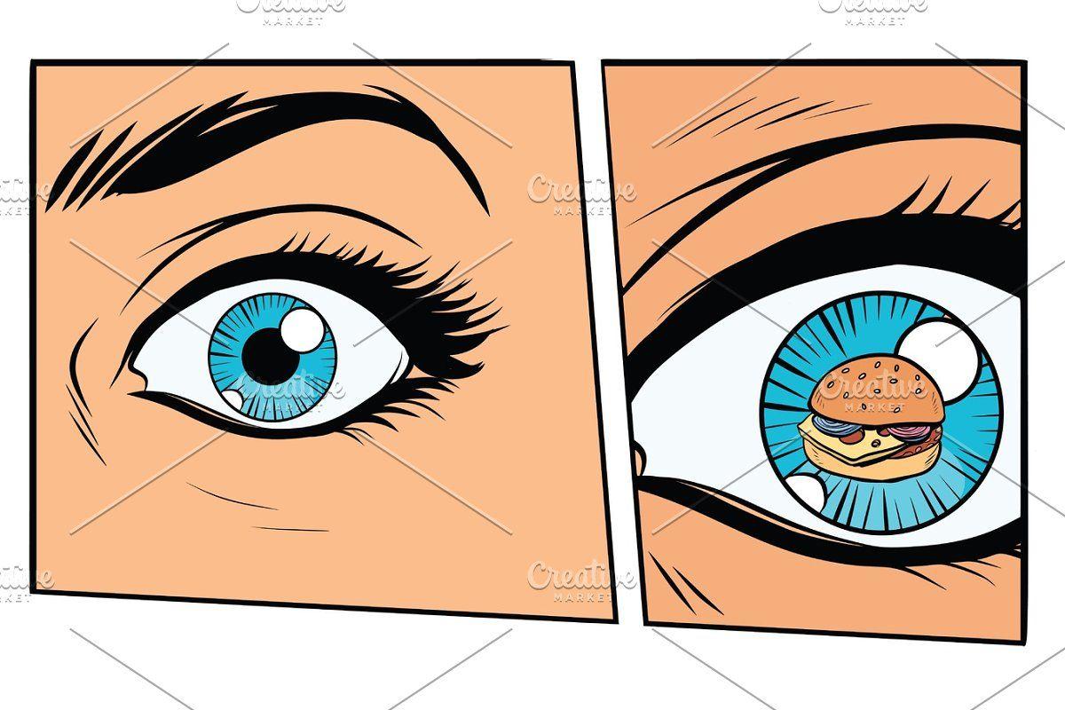 Comic Storyboard Hungry Woman And Burger Retro Vector Illustration Cartoon Styles Storyboard