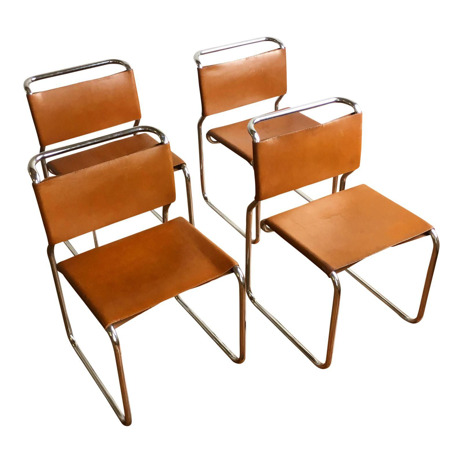 Vintage Oiled Leather Chrome Cantilever Chairs By Nicos