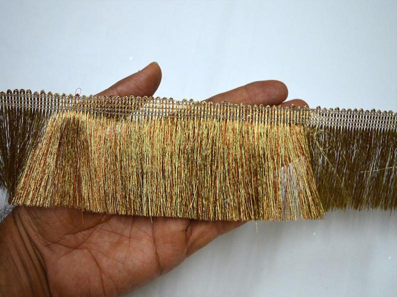 "Antique Gold 2.5/"" Tassel Fringe Trim Gold By The Yard"