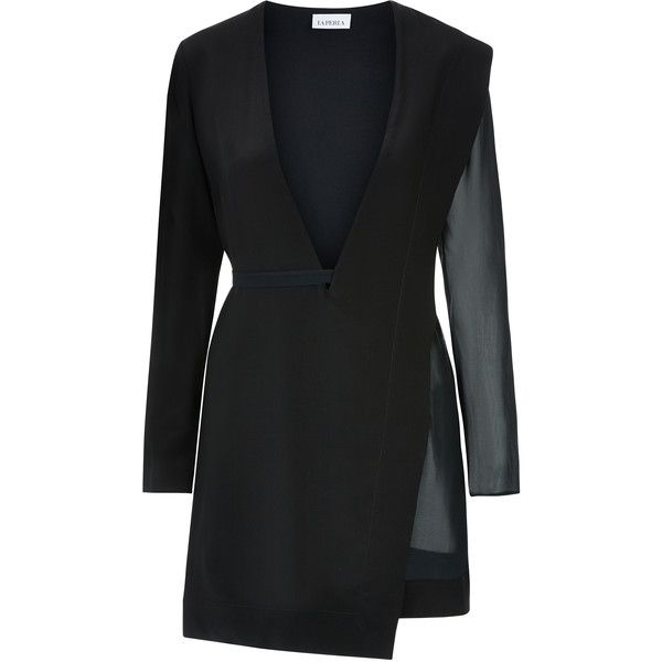 La Perla Wired Dress (2.615 BRL) ❤ liked on Polyvore featuring dresses, black, double layer dress, layered dress, asymmetrical cocktail dress, asymmetrical dresses and panel dress