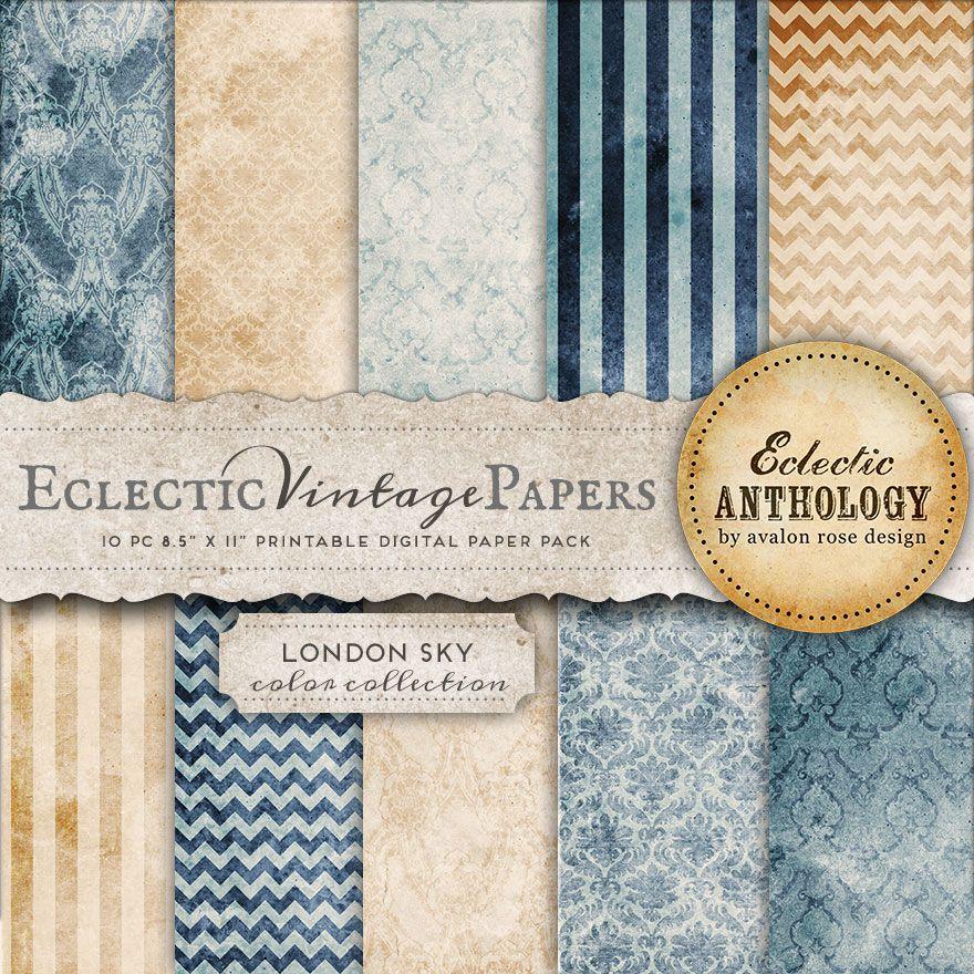 london sky printable scrapbook papers avalon rose design feminine vintage inspired graphic. Black Bedroom Furniture Sets. Home Design Ideas