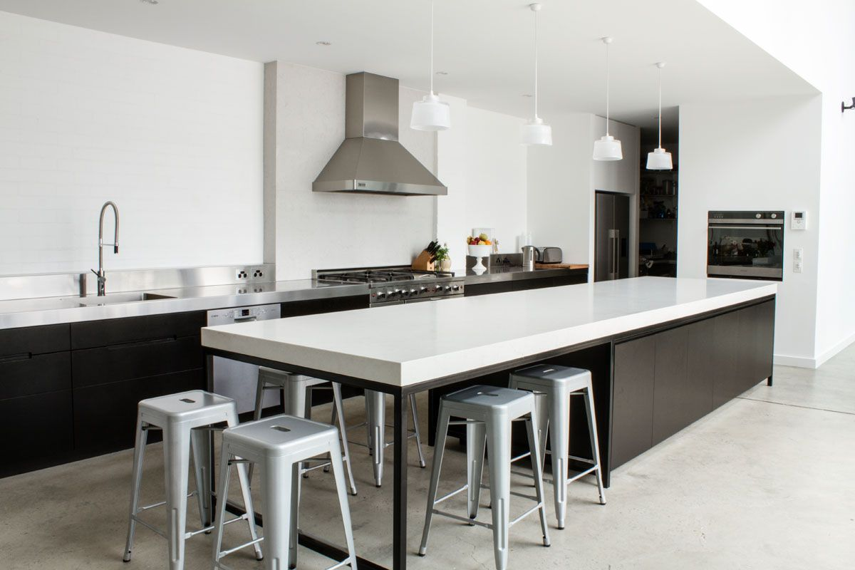 Rock music legend mark lizotte 39 s warehouse conversion with - Modern kitchen island with seating ...