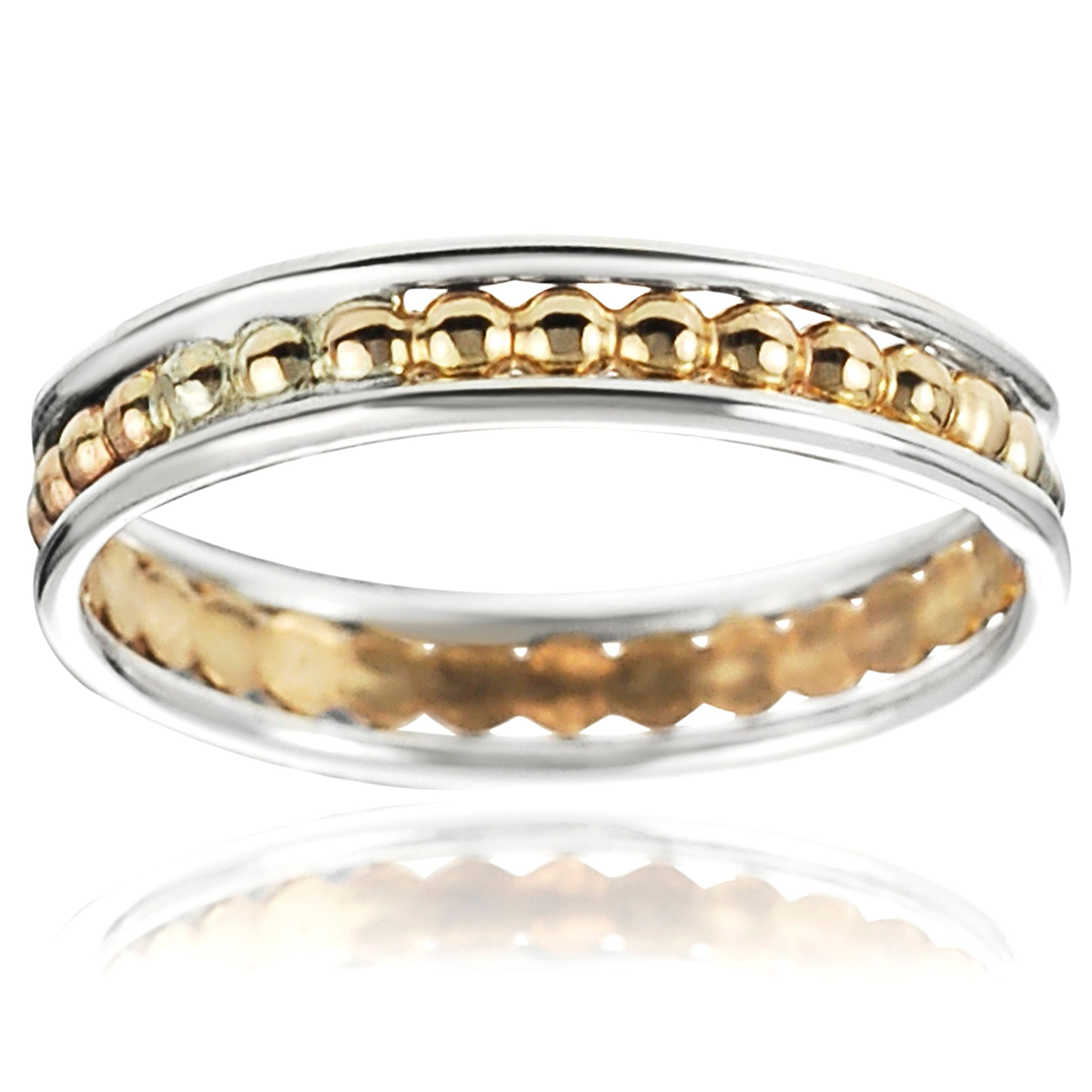 Journee Collection Sterling Silver Handcrafted Textured Band