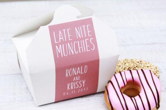 Midnight Snack Late Nite Snack Wedding Cake Favor Box Donut Box Cake Box Dessert To Go Take Wedding Cake Boxes Favors Wedding Cake Boxes Wedding Stickers