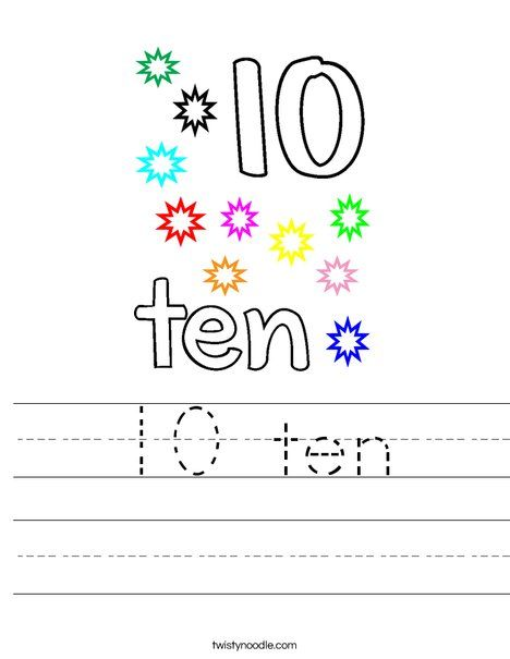 10 ten Worksheet - Twisty Noodle | Worksheets, Mini books ...