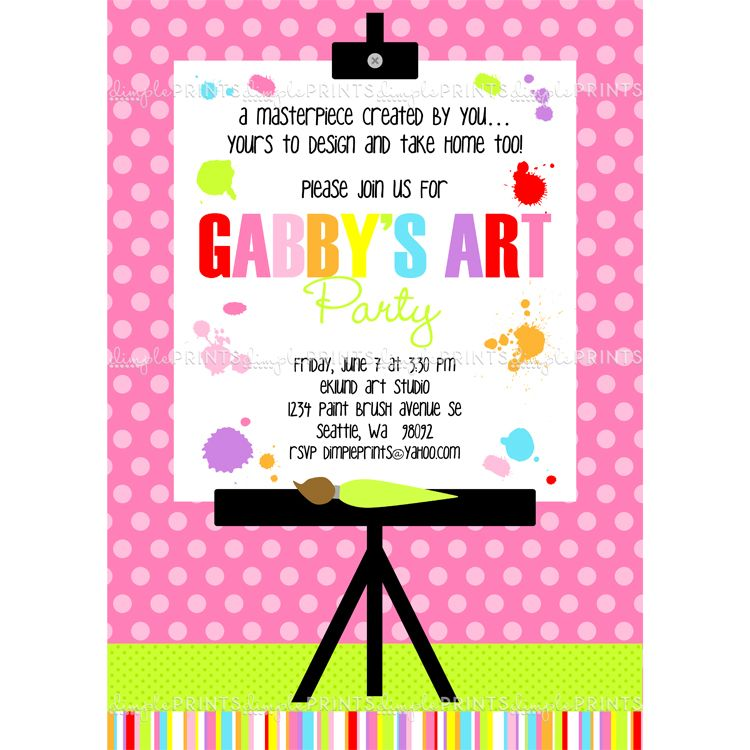 painting art party printable invitation | art party, birthdays and, Party invitations