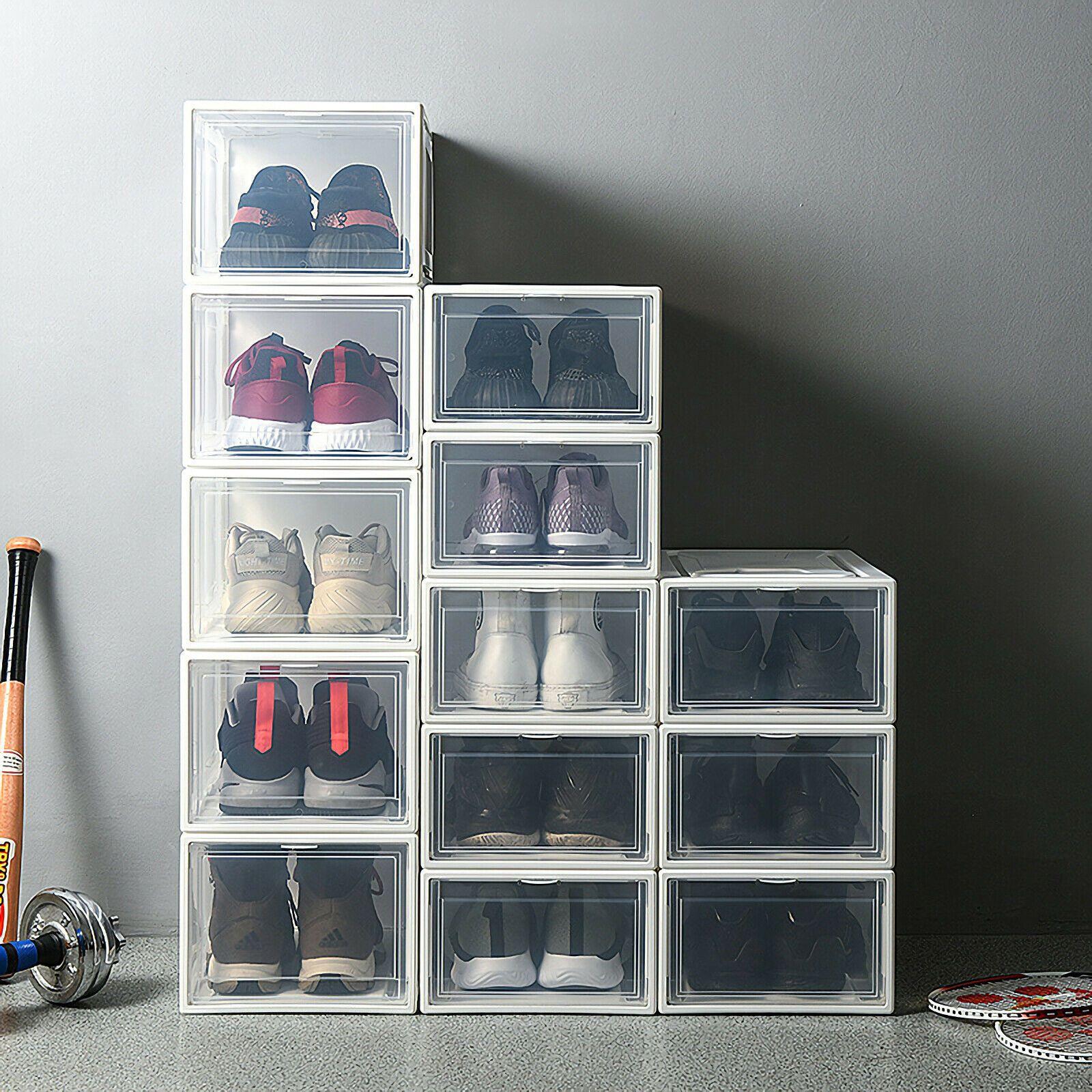 Details Zu 3er Set Schuhbox Stapelboxen Aufbewahrungsbox Mit