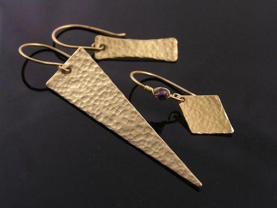 Photo of Hammered Brass Earrings, Golden Earrings, Industrial Earrings, Minimalist Earrings, Steampunk Jewelry, Hammered Earrings, E2240