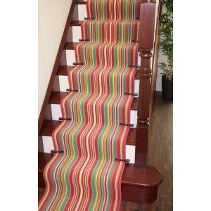 Best Lima 459 Pink Green Stripe Narrow Stair Carpet Runner Rug 400 x 300