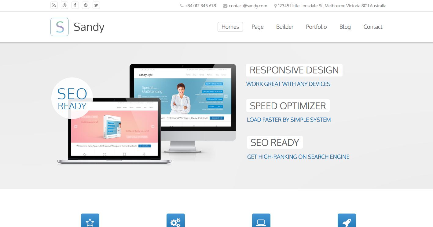 Sandy Truly Premium Wordpress Theme Business Theme Wordpress Premium Wordpress Themes Wordpress Theme Web Themes