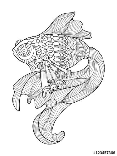Gold Fish Coloring Page For Adults Designed By Alexander Pokusay On Fotolia Fish Coloring Page Coloring Pages Coloring Books