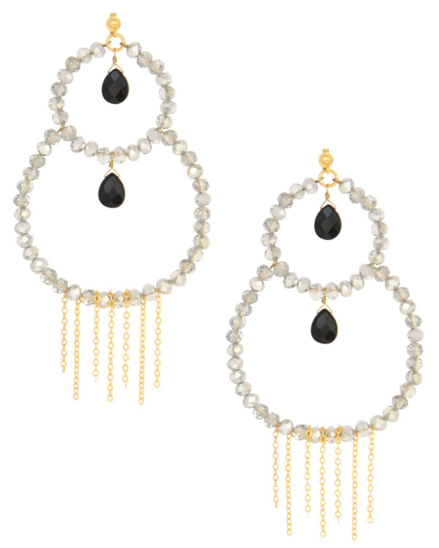 18k gp double hoop chandelier earrings in black onyx and clear 18k gp double hoop chandelier earrings in black onyx and clear silver crystal by taolei arubaitofo Choice Image
