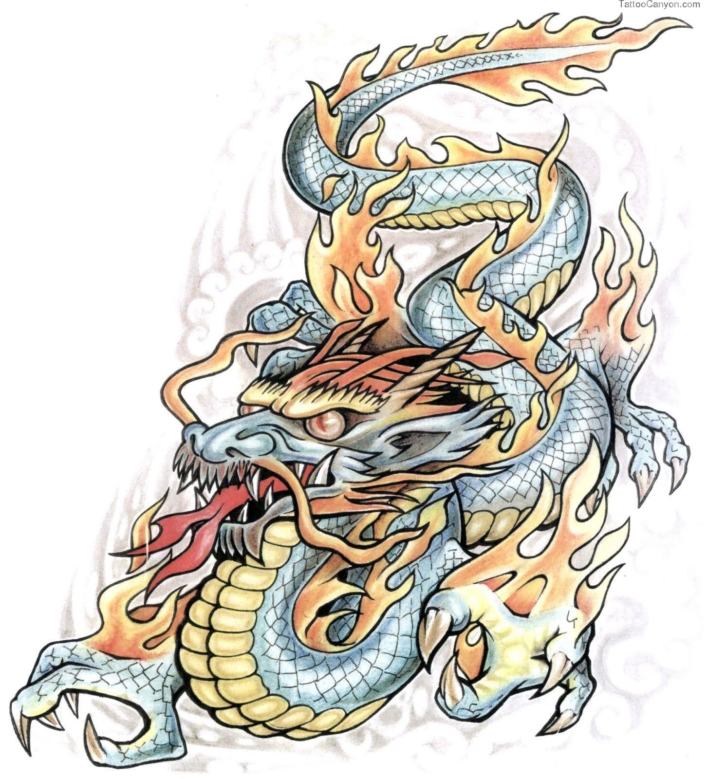 Chinese Dragon On Fire Tattoo Design Tattoology Free