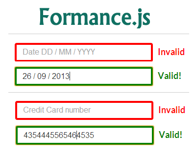 Formance js – jQuery Library for Formatting and Validating