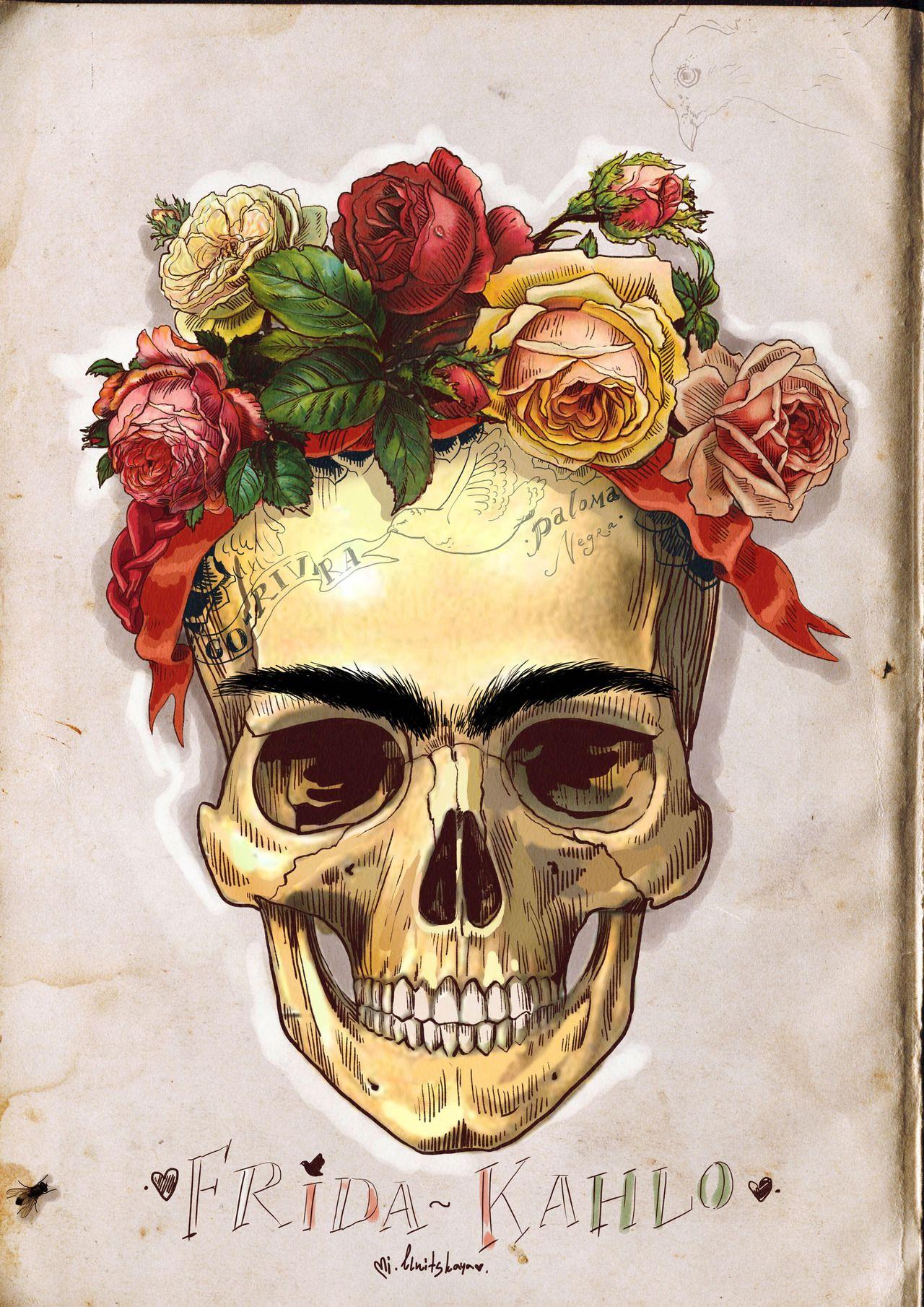 frida kahlo skull ilustracion by Mimi Ilnitskaya