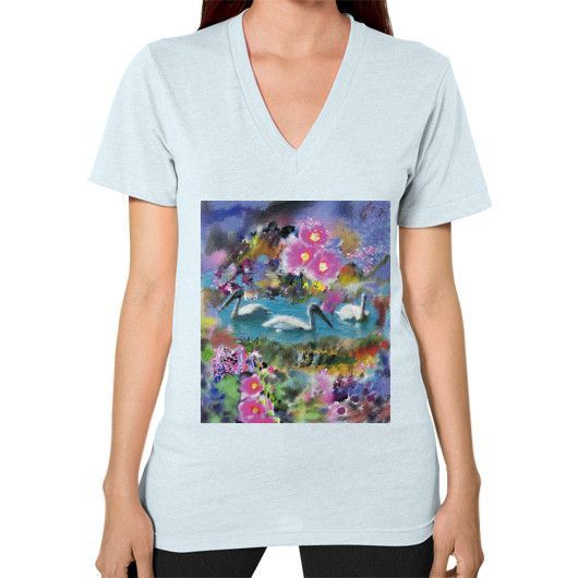 """""""Pelicans on Pond,"""" V-Neck (on woman)"""