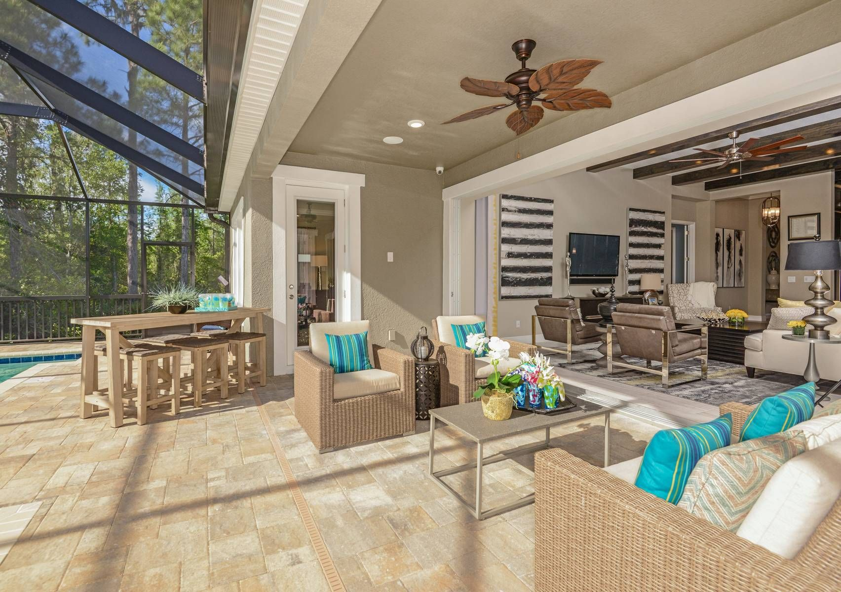 The Covered Patio And Lanai In Our Beach Park New Home In Tampa Gives Many Options For Indoor