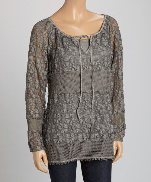 Take a look at the Silver & Gray Floral Lace Notch Neck Top on #zulily today!
