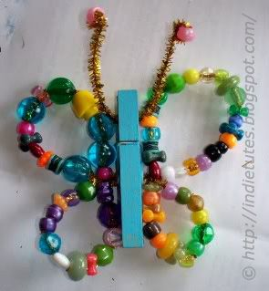 Schmetterling Mit Perlen Pfeifenputzer Draht Und Klämmerli